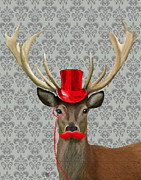Deer Hat Framed Prints - Deer with Top Hat and Moustache Red Framed Print by Kelly McLaughlan