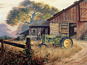 Landscapes Painting Prints - Deere Country Print by Michael Humphries