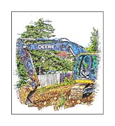 Machinery Digital Art Framed Prints - Deere For Hire2 - Excavator - Digger Framed Print by Barbara Griffin