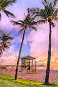 Singer Photos - Deerfield Beach Watercolor by Debra and Dave Vanderlaan