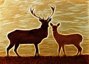 Deers Lookout Print by Georgeta Blanaru