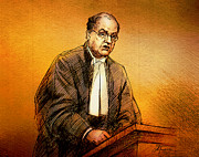 Lawyer Drawings - Defence Lawyer Robert Richardson at Richard Kachkar Trial by Alex Tavshunsky
