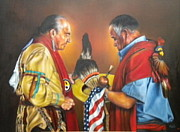 Shawl Painting Originals - Defended Our Country  by Mahto Hogue