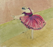 Pencil On Canvas Painting Prints - Degas Dancer in Pink 1994.  Print by Cathy Peterson