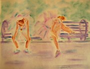 Athlete Pastels Posters - Degas Runner   With Medal Poster by Sandy Ryan