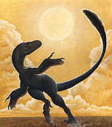 Illustration Technique Art - Deinonychus Antirrhopus Dancing by H. Kyoht Luterman