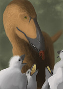 Dromaeosaurid Framed Prints - Deinonychus Dinosaur Feeding Its Young Framed Print by Michele Dessi