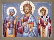 Deisis Jesus Christ St Anastasios And St Eleftherios Print by Julia Bridget Hayes