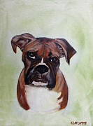 Boxer Paintings - Deklin by Karen Laflamme