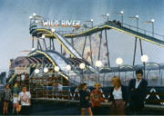 Roller Coaster Painting Posters - Del Mar Fair at Night Poster by Mary Helmreich