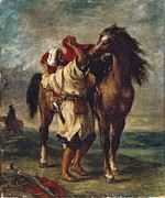 Orientalists Photo Posters - Delacroix, Eugène 1798-1863. Arab Poster by Everett