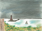 House Pastels - Delaware Breakwater Light House by David Jackson