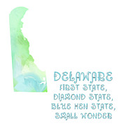 Diamond Mixed Media - Delaware - First State - Diamond State - Blue Hen State - Small Wonder - Map - State Phrase by Andee Photography