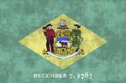 U S Flag Digital Art Posters - Delaware Flag Poster by World Art Prints And Designs