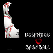 Abstract Map Posters - Delaware Loves Baseball Poster by Andee Photography