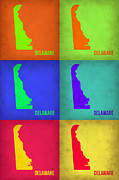 Delaware Framed Prints - Delaware Pop Art Map 1 Framed Print by Irina  March