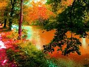 Delaware Raritan Canal In Autumn Print by Annie Zeno