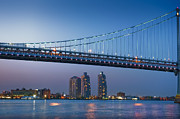 Downtown Franklin Prints - Delaware River Ben Franklin Bridge Downtown Night Phila PA Print by David  Zanzinger