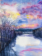 River Banks Paintings - Delaware River Riegelsville by Patricia Allingham Carlson