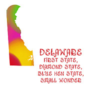 Abstract Map Prints - Delaware State Map Collection 2 Print by Andee Photography