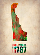 World Map Digital Art Posters - Delaware Watercolor Map Poster by Irina  March