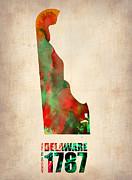 Delaware Watercolor Map Print by Naxart Studio
