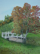Winery Paintings - Delfosse Bridge by Gloria Patrick Sumter