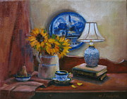 Fruit And Sunflowers Acrylic Prints - Delft Blue and Sunflowers Acrylic Print by Margaret Hodgson