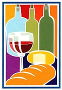 Red Wine Prints Posters - Deli Moment Poster by Ric Rice