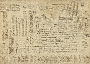 Scribbles Prints - Delian problem or doubling cube equivalence among various parts of circle from Atlantic Codex  Print by Leonardo Da Vinci