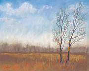 Bare Trees Pastels Prints - Deliberate Solitude Print by Christine Kane
