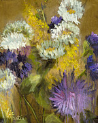 Aster Paintings - Delicate Aroma I -Unframed-with Gold Leaf by Vic Mastis by Vic  Mastis