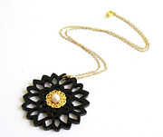 Nature Inspired Jewelry - Delicate Black Flower Necklace With Pearl by Rony Bank