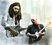 Pink Floyd Drawings Posters - Delicate Sound of Brilliance  David Gilmour Poster by Iconic Images Art Gallery David Pucciarelli