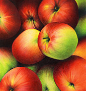 Food And Beverage Drawings Prints - Delicious Apples Print by Natasha Denger