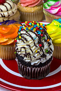 Frosting Prints - Delicious cupcakes Print by Garry Gay