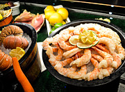 Concern Prints - Delicious Shrimp Seafood Platters  Print by Michel Sun