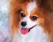 Papillon Dog Paintings - Delightful Papillon by Jai Johnson