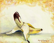 Yellow Bananas Paintings - Delightfully Delectable 1 Banana by Shana Rowe