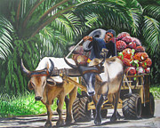 Cart Driving Posters - Delivering Fruit Poster by Suzahn King
