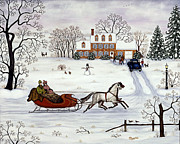 Folk Art Paintings - Delivering Gifts by Linda Mears