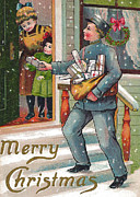 Cards Vintage Digital Art Prints - Delivering Gifts Print by Munir Alawi