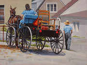 Amish Buggy Paintings - Delivering the Chair by Todd Baxter