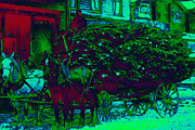 Horse And Buggy Digital Art Prints - Delivering The Christmas Trees - 20130208 Print by Wingsdomain Art and Photography