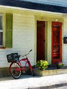 Flower Pots Prints - Delivery Bicycle by Two Red Doors Print by Susan Savad