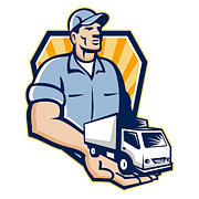 Delivery Framed Prints - Delivery Man Handing Removal Van Crest Retro Framed Print by Aloysius Patrimonio