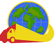 Europe Digital Art Metal Prints - Delivery Truck Lorry Globe Retro Metal Print by Aloysius Patrimonio