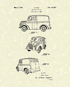 Delivery Truck Posters - Delivery Vehicle 1938 Patent Art  Poster by Prior Art Design
