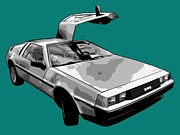 Car Doors Posters - DeLorean Pop Poster by Lance Vaughn