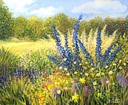 Flora Painting Prints - Delphinium Print by Kiril Stanchev